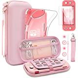 BRHE Kawaii Switch Lite Carrying Case, Cute Portable Travel Hard Shell Cover Protective Bag Kits with Strap & TPU Cover Thumb