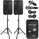 """Knox Dual Speaker and Mixer Kit - Portable 8"""" 300 Watt DJ PA System with Wired Microphone, Remote Control and Tripods - 8 Cha"""