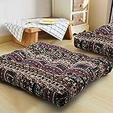 HIGOGOGO Bohemian Floor Cushion, Square Meditation Pillow Mandala Floor Seat Cushion Cotton Linen Yoga Pillow Japanese Tatami