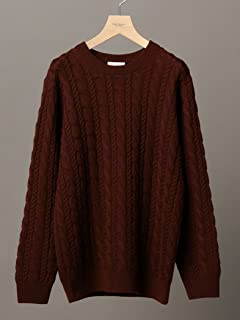 Wool Cable Crewneck Sweater 1213-105-3231: Brown