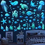 Ocean Fish Wall Decals,Glow in the Dark Under the Sea Wall Decals Vinyl Sea Life Wall Stickers Removable Waterproof Peel and