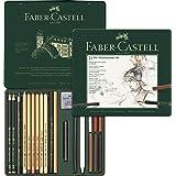 Faber-Castell Medium Pitt Mixed Media Set, Monochrome – Tin of 21, (18-112976)