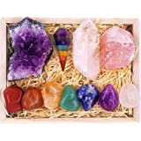 Premium Healing Crystals Gift Kit in Wooden Box - 7 Chakra Set Tumbled Stones, Rose Quartz, Amethyst Cluster, Crystal Points,