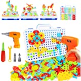 237 Pieces Electric DIY Drill Educational Set, STEM Learning Toys, 3D Construction Engineering Building Blocks for Boys and G