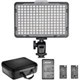 Neewer Dimmable 176 LED Video Light Lighting Kit: 176 LED Panel 3200-5600K, 2 Pieces Rechargeable Li-ion Battery, USB Charger