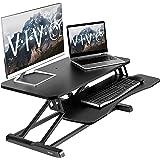 VIVO Black Height Adjustable 32 Inch Standing Desk Converter, Sit Stand Dual Monitor and Laptop Riser Workstation (Desk-V000K