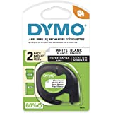 Dymo 10697 LT Paper Labels for LetraTag Label Makers   Black Print on White   12mm x 4m Roll   Self-Adhesive   2-Pack