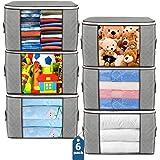 Budding Joy Large Storage Bags, Grey, 6 Count