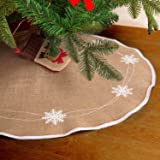 HOHOTIME Christmas Tree Skirt 30 inch Burlap White Snowflake Pattern Tree Skirt Mat for Xmas Holiday Party Decorations