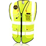 KwikSafety (Charlotte, NC) SUPERIOR (9 Pockets) Class 2 ANSI High Visibility Reflective Safety Vest Heavy Duty Mesh Zipper an