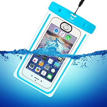 Wolfeye 指紋認証可 防水携帯ケース 高感度PVC IPX8 夜間発光 アウトドア 温泉 釣り お風呂 水泳 砂浜等最適な防水袋 スマホケース・カバー 防水国際保護等級:IPX8認定獲得 iPhone 6 Plus/Samsung Galaxy/Nexus/Sonyなど全機種対応 スマートフォン用防水 防塵ケース (ブルー)