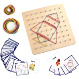 Thoth Montessori Wooden Geoboard Mathematical Manipulative Material Array Block Geo board with 24Pcs Pattern Cards and Rubber
