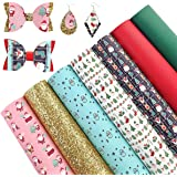 AUXIN 7 Pcs A4 Size Christmas Theme Printed Faux Leather Sheets for Bows Earrings DIY Making, Synthetic Vinyl Chunky Glitter