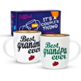 Gifffted Grandparents Mugs, Best Ever Grandma and Grandpa Coffee Mugs, Gifts from Grandson or Granddaughter for Grandparents
