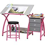 STUDIO DESIGNS Comet Center with Stool Silver/Black, Pink, Pink White