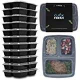 [11 Pack] Click Fresh - 3 Compartment Meal Prep Containers with Airtight Lids - BPA Free - 36oz - Stackable - Freezer/Microwa