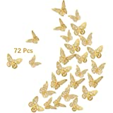 3D Butterfly Wall Stickers, 72Pcs 3 Sizes 3 Styles, Removable Metallic Wall Decals Fridge Sticker Room Mural Decoration for K