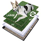 MEEXPAWS Large Dog Grass Toilet with Tray | 34×23 inches| 2 Artificial Grass for Dogs | Rapid Drainage |2 Pee Pads | Puppy Po
