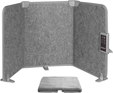 POMLIN デスクヒーター 遠赤外線省エネ パネルヒーター 3面折り畳み式足元ヒーター 毛布付き 温度3段階切替式 3時間タイマー付 冷え対策 転倒保護 日本語説明書付き PSE認証 部屋 オフィス ギフト