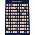 """100 Anime Scratch Off Poster - Top Japanese Animation of All Time Bucket List (16.5"""" x 23.4"""")"""