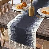 KIMODE Cotton Fringe Table Runner 14 X 72 in, Farmhouse Gradient Bohemian Woven Tassels Macrame Dinning Table Linen Machine W