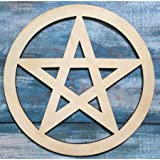 Simurg Wooden Pentacle Wall Sign, Wooden Pentagram Wall Hanging, Supernatural Protection, Wicca Decor, Hand Carved Pentacle,