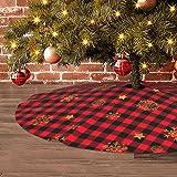 Buffalo Piaid Christmas Tree Skirt Red Black Xmas Tree Skirt Gold Snowflakes Large Round Tree Skirt for Christmas Holiday Dec