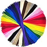 Nylon Zippers for Sewing, 22 Inch 60 PCs Bulk Zipper Supplies in 20 Assorted Colors; by Mandala Crafts
