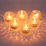 YWHL Glass Tealight Candle Holders Set of 6 Home Decoration Party Centerpiece