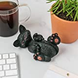 JFSM INC. Halloween Decoration Black Cat Playing with Tail Figurine - Whimsical Smiling Cat Statue - Happy Cat Collection