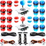 Easyget LED Arcade DIY Parts 2X Zero Delay USB Encoder + 2X 8 Way Joystick + 20x LED Illuminated Push Buttons for Mame Jamma