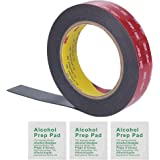 3M 1 Inch Width 15 Ft Length VHB 5952 Black Heavy Duty Multipurpose Double Sided Tape - Includes 3 Alcohol Prep Pad