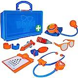 Doctor Blippi Playset - Stethoscope, Glasses, Blood Pressure Arm Band, Toy Syringe, Thermometer, Doctor's Bag, Bandages, Refl
