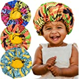 3 Pieces Kids Satin Bonnet Adjustable Sleeping Cap Soft Silk Flower Night Hats for Natural Hair Teens Toddler Child Baby Reve