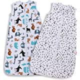 Licitn Baby Sleeping Bag-100% Organic Cotton 2PCS 0.5 Tog Baby Sleeping Sack Baby Wearable Blanket Sleeping Sack Baby Swaddle