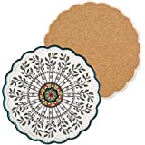 Ceramic Stone Trivets for Hot Pots and Pans, Trivets for Hot Dishes, Spoon Rest and Large Coasters, Cork Base, Beautiful Desi