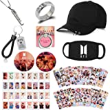 Kpop BTS Bangtan Boys Gifts Set for Army, Map of The Soul Photocard, Stickers, Hat, Face Mask, Rings, Pendant Necklace, Butto
