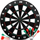 INNOCHEER Safety Darts and Kids Dart Board Set - 16 Inch Rubber Dart Board with 9 Soft Tip Darts for Children and Adults, Off