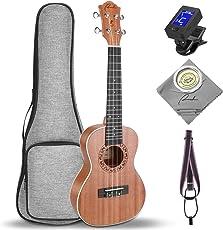 ソプラノ・ ウクレレ 21 インチ Ranch 天然ウッド製 専門のSoprano UKULELEサイズ 【Hawaii 初心者セット】ハワイ・ミニ・ギター 楽器 入門セット【ならびに 高品質 ソフトケース・チューナー・ストラップ・ポリシングクロース・Aquila(アクィーラ)予備弦4本も揃っております】
