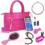 PixieCrush Pretend Play Kid Purse Set for Girls with Handbag Pretend Smart Phone Keys With Remote Pretend Makeup Lipstick ? I