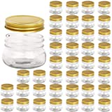 Encheng 5 oz Wide Mouth Mason Jars,Clear Glass Jars with Lids(Golden),Small Spice Jars for Herb,Jelly,Jams,Wedding Favors,Sho