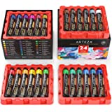 ARTEZA Acrylic Paint, Set of 24 Colors/Tubes (22 Ml/0.74 Oz.) with Storage Box, Rich Pigments, Non Fading, Non Toxic Paints f
