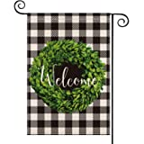 AVOIN Fall Boxwood Wreath Welcome Garden Flag Vertical Double Sided, Buffalo Check Plaid Rustic Farmhouse Burlap Flag Yard Ou