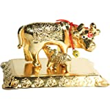 IndianStore4All Kamadhenu Cow Indian Statue Office Table Gold Tone Metal Art