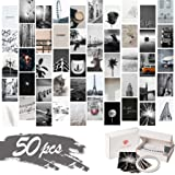 KOSKIMER Black White Aesthetic Photo Collage Kit, 50 Set 4x6 Inch Wall Collage Kit Aesthetic Pictures, Bedroom Decor for Teen
