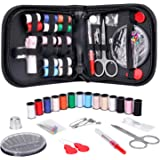 (S, Black) - Coquimbo Mini Sewing Kit Accessories Portable Sewing Set with Carrying Case for Home, Travel, Adults, Beginners,