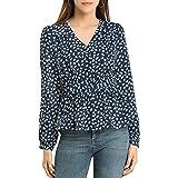 Allegra K Women's Elegant V Neck Dots Print Smocked Ruffled Hem Button Peplum Blouse