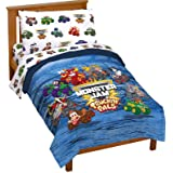Monster Jam Truckin Palz 4 Piece Toddler Bed Set - Includes Comforter & Sheet Set - Bedding Features Grave Digger & Megalodon