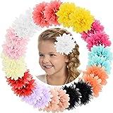 "ALinmo Baby Girls Clips 24pcs 3.5"" Chiffon Flower Clips Hair Barrettes Hair Pins Hair Accessories for Baby Girls Infants Teen"