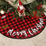 Christmas Tree Skirt, 36 inch Christmastree Skirt Red and Black Plaid Xmas Ornaments for Holiday Party Decoration